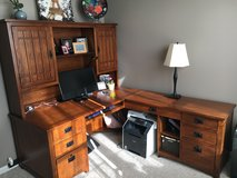 Solid wood desk with hutch in Wheaton, Illinois