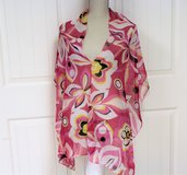 Breast Cancer Pink Wrap Shawl Poncho Sheer Flower Floral Pink Orange Scarf Cover in Kingwood, Texas