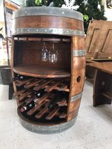 Oak barrel wine rack in Olympia, Washington