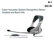 Cyber Acoustics Speech Recognition Stereo Headset and Boom Mic(B1) in Barstow, California