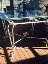 Glass top iron table in Beaufort, South Carolina