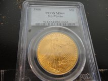 1908 Pcgs ms64 no motto $20  double eagle st guidens gold in Fort Campbell, Kentucky