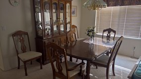 Formal Dining set with 2 leaves, hutch and 6 chairs in Las Vegas, Nevada