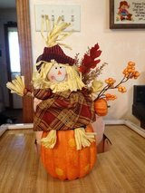 Fall Decoration of scarecrow sitting on a pumpkin in Joliet, Illinois