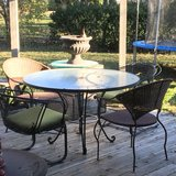 : ) Patio Furniture Set :  Table w/Chairs Stand & Umbrella in Chicago, Illinois