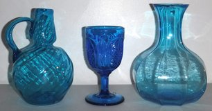 Vintage Indiana Tiara Wheaton Fenton Blue Glass Goblet Decanter Vases in Orland Park, Illinois