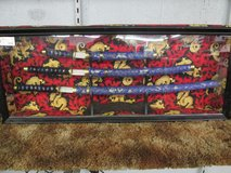 3 pc Katana set on stand in display case ON SALE!!! in Cherry Point, North Carolina