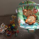 Bouncer and toddler toys in Oceanside, California