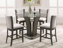 BRAND NEW! QUALITY CONTEMPORARY SLEEK STYLING GREY FINISHED PEDESTAL DINING SET in Camp Pendleton, California