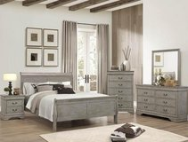 "BRAND NEW! SOLID WOOD GREY FINISHED ""LOUIS PHILIPE"" COLLECTION QUEEN BED SET in Camp Pendleton, California"