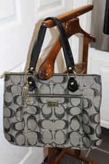 Coach Poppy Lurex Gray/Pewter Metallic Glam Tote Shoulder Bag 17890 MINT!! in Fort Rucker, Alabama