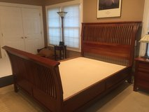 Cherry wood queen bed, dresser with mirror & night stand in Glendale Heights, Illinois