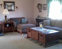 Coffee Table(52Wx33Dx20H) Oversized Chair, Ottoman. End Table(24Wx28Dx26H) in New Lenox, Illinois