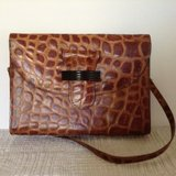 Women Vintage genuine leather croc embossed purse in 29 Palms, California