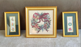 GOLD FRAMED Christmas pictures-$12+ in Tinley Park, Illinois