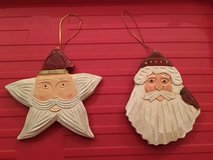 WOOD SANTA ORNAMENTS (2) in Westmont, Illinois