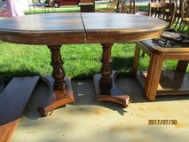 """Oak Dinette Table with one 12"""" leaf and 2 pedistal legs+ 4 high back chairs in Palatine, Illinois"""