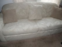 Custom Fabric Queen Sofa Bed Very Clean and Comfortable Beige Jacqurd Cover Foam Mattress in Wilmington, North Carolina