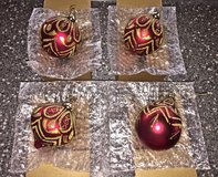 NEW Red/ Burgundy and Gold Christmas Ornaments. Set of 4. in Okinawa, Japan