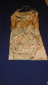 golden brown fitted silk dress S mini in Nellis AFB, Nevada