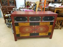 Pier 1 Imports Asian flare 3 drawer painted entry way buffet sideboard cabinet dresser in Chicago, Illinois