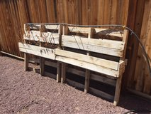 Raised pallet flower/herb garden in San Bernardino, California