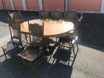 Country Oak 9 Piece Scrolled  Dining Chairs Kitchen Table Set in Camp Lejeune, North Carolina