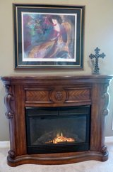 High-End Carved Cherry Wood Swan-Neck Corners Electric Heating Fireplace, Gorgeous! Great Gift Idea in Katy, Texas