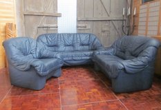 Blue Leather 3,2,1 Couch Set in Ramstein, Germany