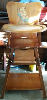 Vintage Wooden High Chair in Joliet, Illinois
