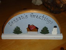 "wood ""season's greetings"" in Lockport, Illinois"