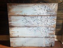 Hand painted reclaimed wood tree painting in Fort Benning, Georgia