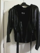 Womens Black Leather Jacket w/ Hood in Hinesville, Georgia