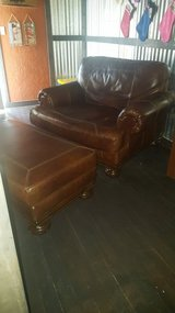 Ashley Leather Oversized Chair with Ottoman in Lawton, Oklahoma