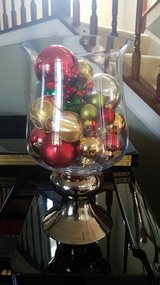 Christmas glass decor filled with ornaments in New Lenox, Illinois