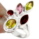 New - Peridot, Amethyst and Garnet Ring - 925 Sterling Silver - Size 8 in Alamogordo, New Mexico