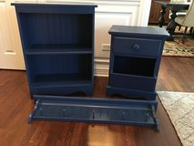 3 Pieces of Blue LAND OF NOD Furnitre - Bookshelf, Wall Shelf and Nightstand in Glendale Heights, Illinois