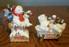 Lot of 2 Coca-Cola Pearlescent Porcelain Polar Bear Ornaments 2003 in Columbus, Georgia