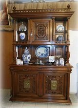 rare dining room hutch with ornate carvings in Stuttgart, GE