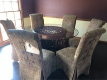 8 Piece Glass and Wood Dining Room Table Set in Naperville, Illinois