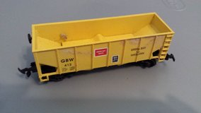 HO scale train yellow boxcar in Perry, Georgia
