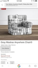Pottery Barn Kids Anywhere Plaid Chair Mint!  Like New! in Plainfield, Illinois