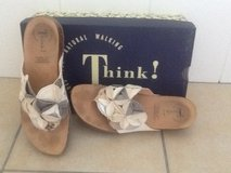 Size 8.5 Think! Cream and Grey Leather Sandals (Nordstrom) in Okinawa, Japan