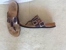 Size 8.5 Think! leather sandals brown with metallic accents in Okinawa, Japan