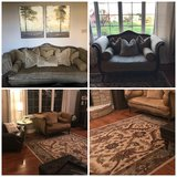 Full living room set: couch, love seat, 8x10 rug and 2 canvas prints in New Lenox, Illinois