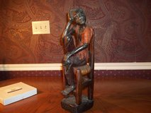 WOODEN HAND CARVED AFRICAN MAN IN CHAIR   VERY DETAILED in Perry, Georgia