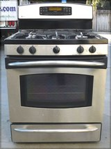 GE PROFILE GAS STOVE- BLACK/STAINLESS WITH WARRANTY in Oceanside, California