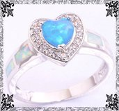 New - Blue Heart Fire Opal and White Fire Opal Ring -  Size 7 and 8 in Alamogordo, New Mexico