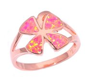New - Flower Pink Fire Opal Rose Gold Filled Ring - Size 8 in Alamogordo, New Mexico