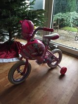 """Girls 12"""" Princess bicycle with training wheels and helmet. in Ramstein, Germany"""